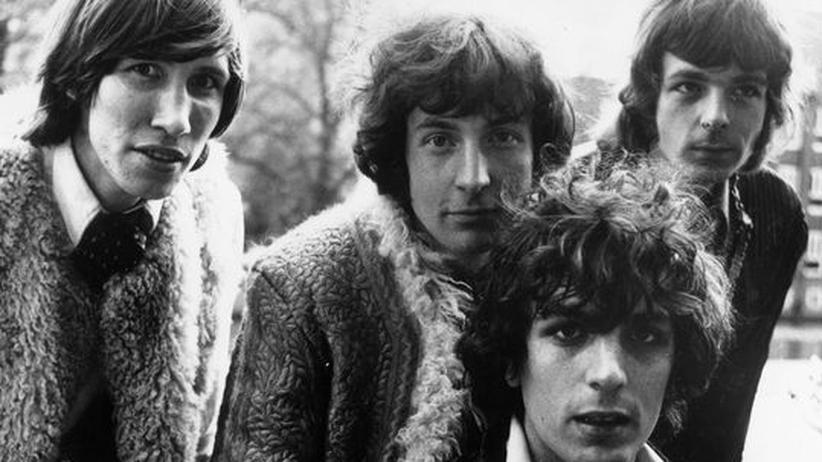 Syd Barrett: Die britische Band Pink Floyd im Juli 1967. Syd Barrett ist unten im Bild, oben sind von links nach rechts Roger Waters, Nick Mason und Rick Wright zu sehen.
