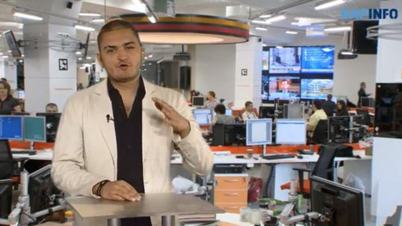 Russischer Hip-Hop: Der russische Nachrichtenrapper DinoMC47 im Studio der Agentur Ria Novosti