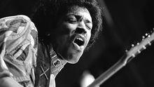 Jimi Hendrix (1942-1970) im August 1970 beim Isle of Wight Festival