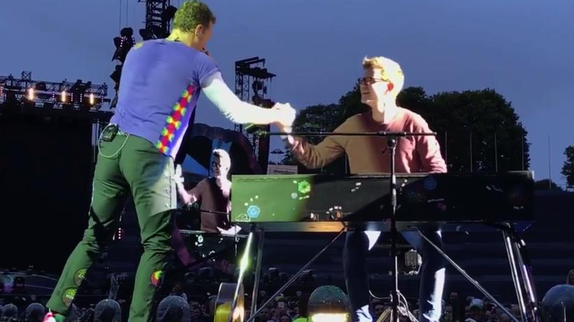 Mit Coldplay auf der Bühne: Rockstar für ein paar Minuten