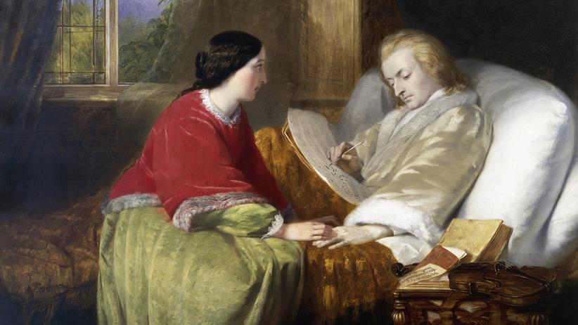 """""""Requiem"""": Wolfgang Amadeus Mozart komponiert sein Requiem auf dem Sterbebett. Ein Gemälde von William James Grant, 1854"""