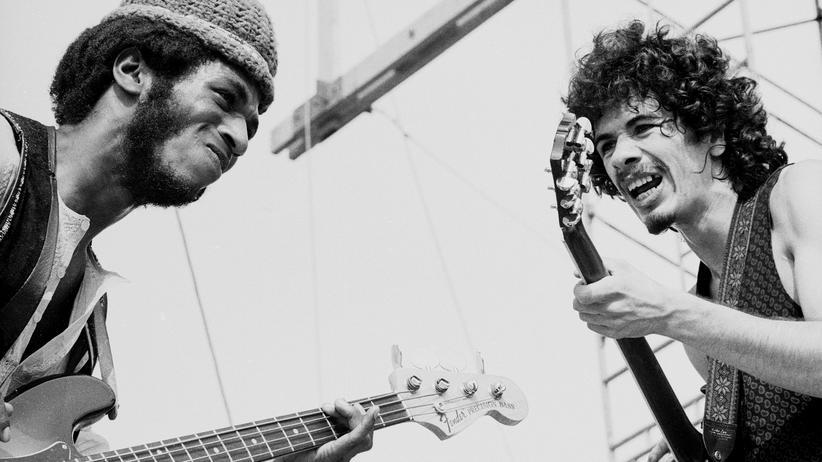 Woodstock: Carlos Santana (rechts) und David Brown 1969 beim Woodstock-Festival