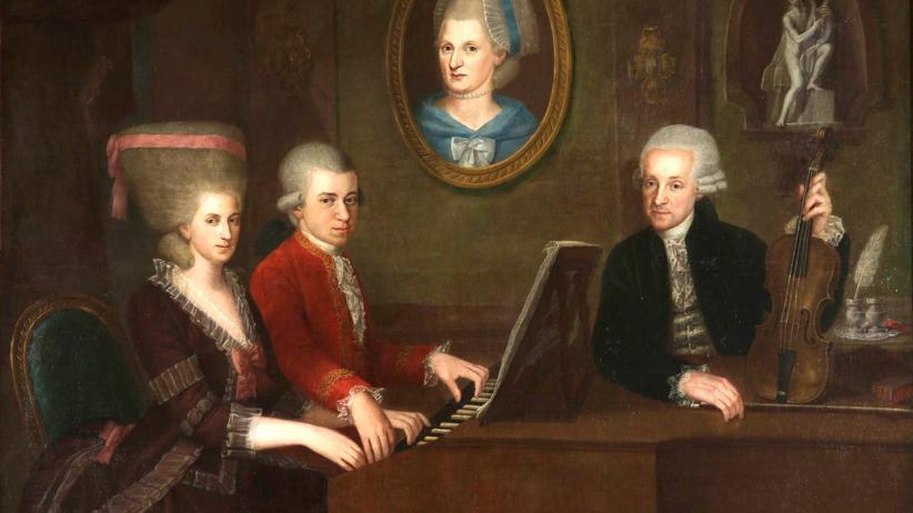 Wolfgang Amadeus Mozart: Fein in der Musik, grob in der Sprache: die Familie Mozart auf einem Gemälde von Johann Nepomuk della Croce um 1780