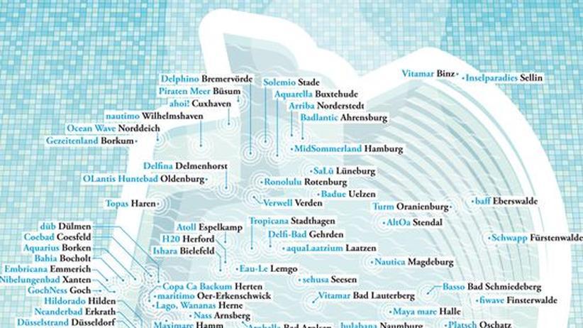 Deutschlandkarte: Schwimmbad-Namen