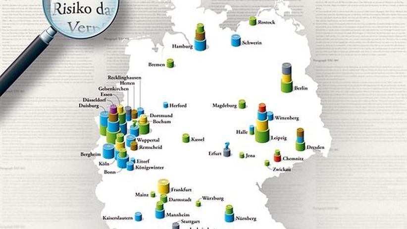Deutschlandkarte: Stadtliche Geschäfte