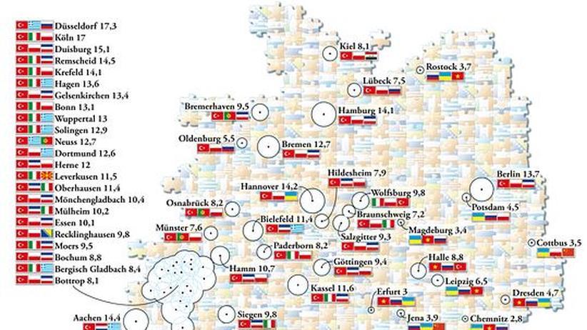 Deutschlandkarte: Wohin es Ausländer zieht