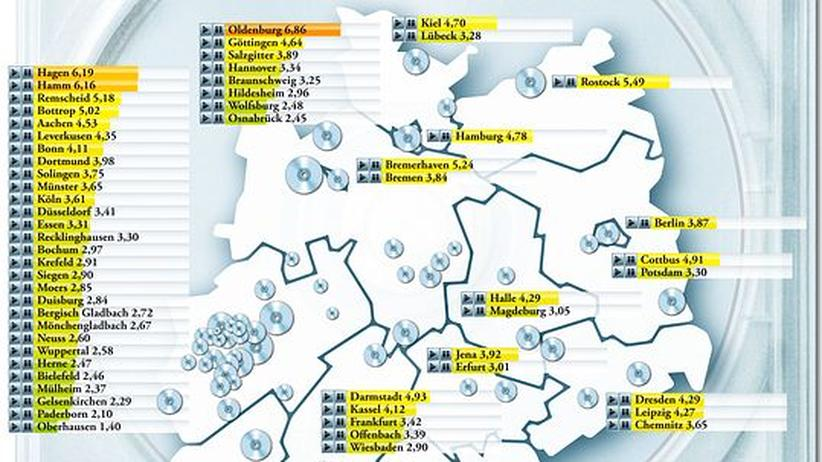 Deutschlandkarte: Wo gibt es die meisten Videotheken?