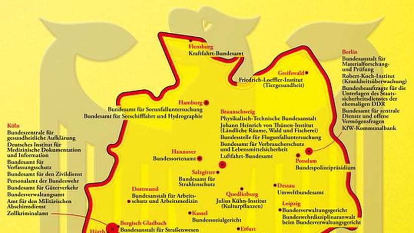 Deutschlandkarte: Bundesbehörden