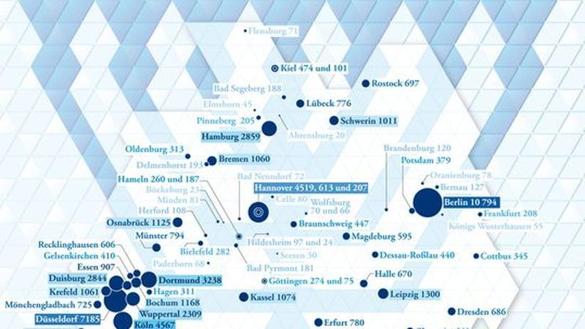 Deutschlandkarte: Jüdische Gemeinden