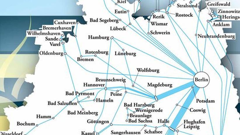 Deutschlandkarte: Fernbusse in Deutschland