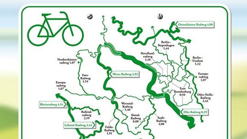Deutschlandkarte: Radwanderwege