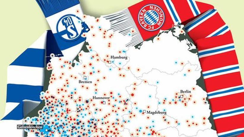 Deutschlandkarte: Schalke- und Bayern-Fans