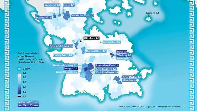 Deutschlandkarte: Griechen in Deutschland