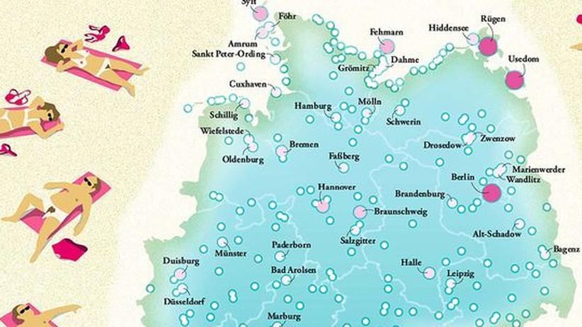 Deutschlandkarte: FKK-Bäder