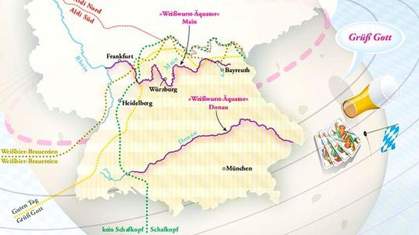 Deutschlandkarte: Grenzgänger zwischen Weißbier und Wurst