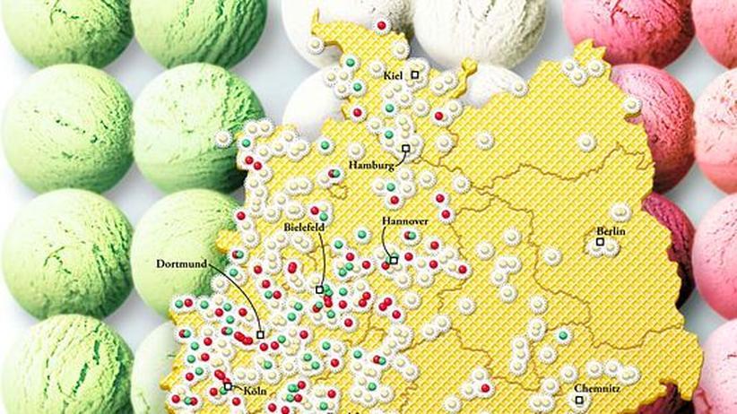Deutschlandkarte: Eiscafés