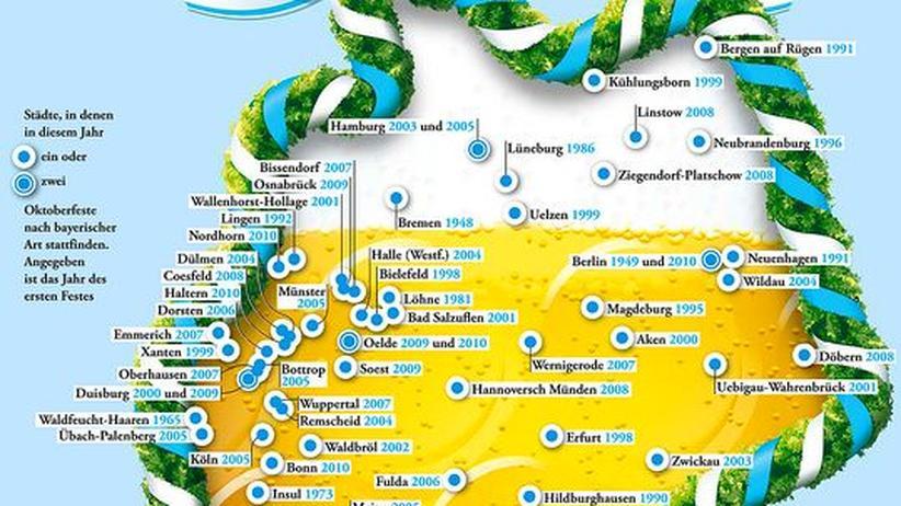Deutschlandkarte: Oktoberfeste