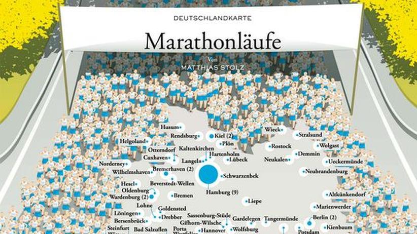 Deutschlandkarte: Marathonläufe