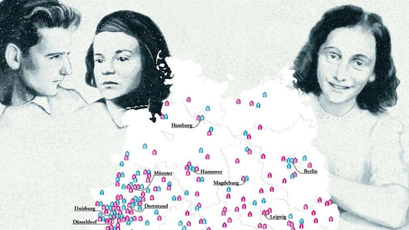 Deutschlandkarte: Gedenkschulen