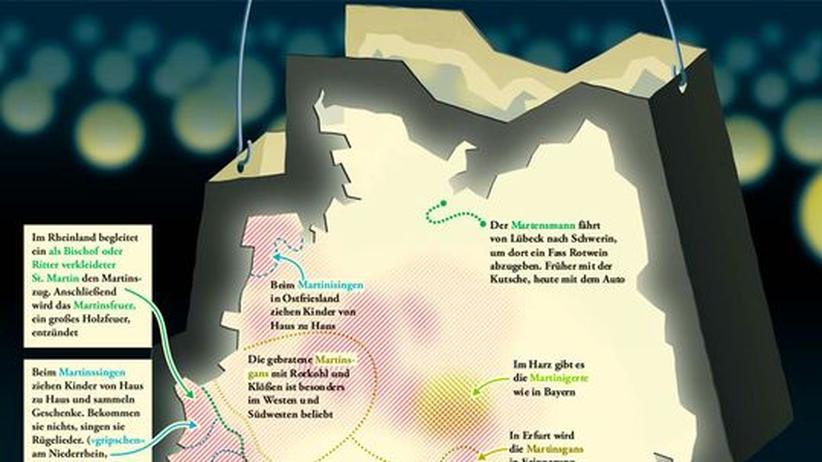 Deutschlandkarte: Martinsbräuche