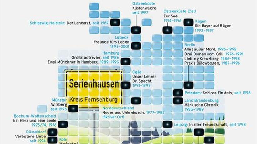 Deutschlandkarte: Wo Fernsehserien spielen