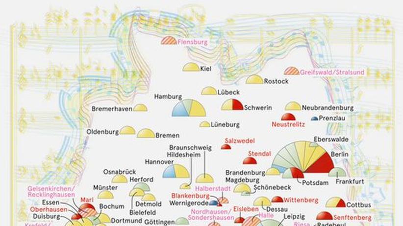 Deutschlandkarte: Orchesterleben, Orchestersterben