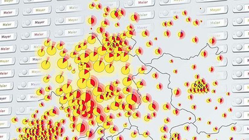 Deutschlandkarte: Meier, Meyer, Mayer oder Maier