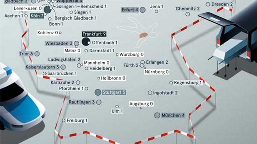 Deutschlandkarte: Mord und Totschlag