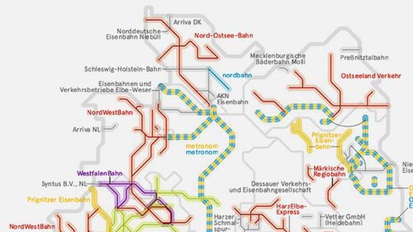 Deutschlandkarte: Kleine Eisenbahnen