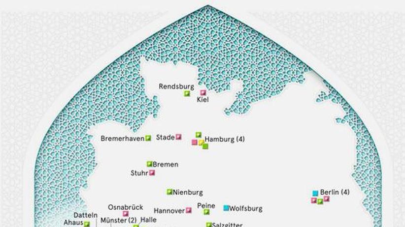 Deutschlandkarte: Moscheen
