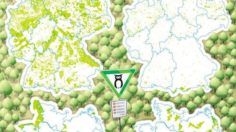 Deutschlandkarte: Geschützte Naturgebiete