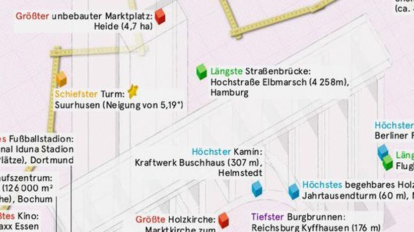 Deutschlandkarte: Architektonische Superlative