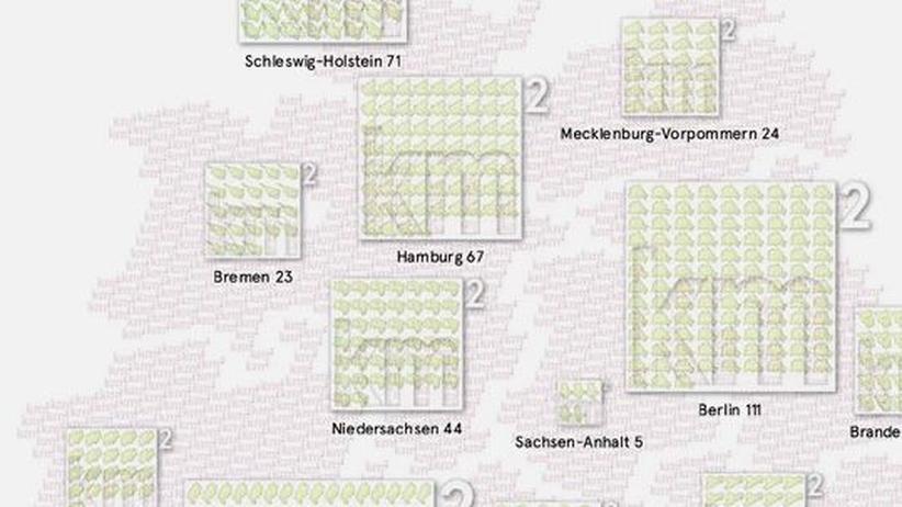 Deutschlandkarte: Größenvergleiche