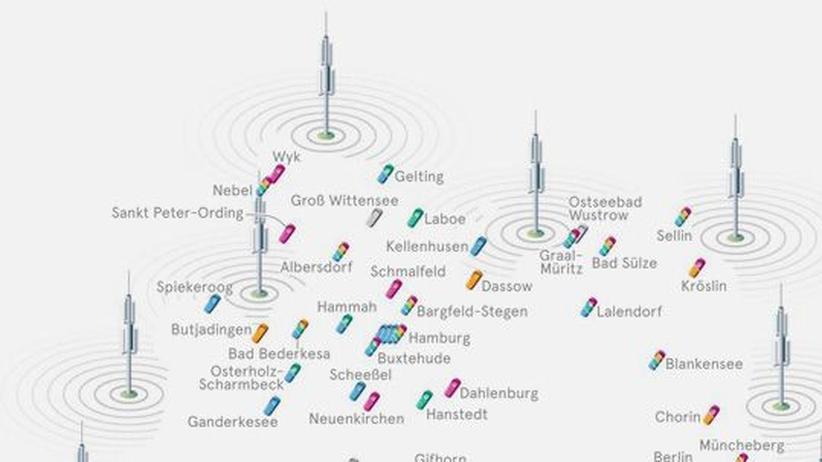 Deutschlandkarte: Mobilfunklöcher