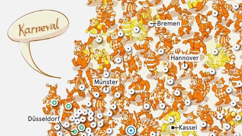 Deutschlandkarte: Rosenmontags-Umzüge