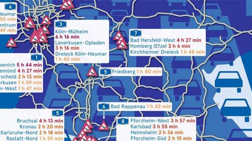 Deutschlandkarte: Autobahnstaus
