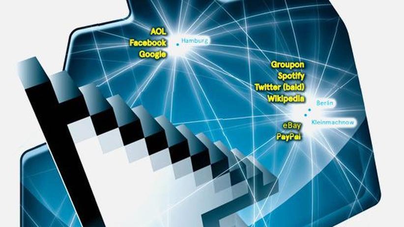 Deutschlandkarte: Große Internetfirmen