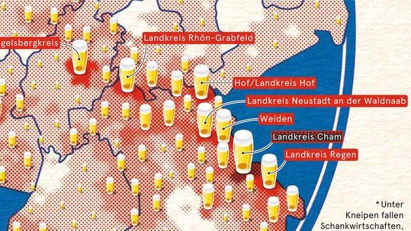 Deutschlandkarte: Kneipendichte