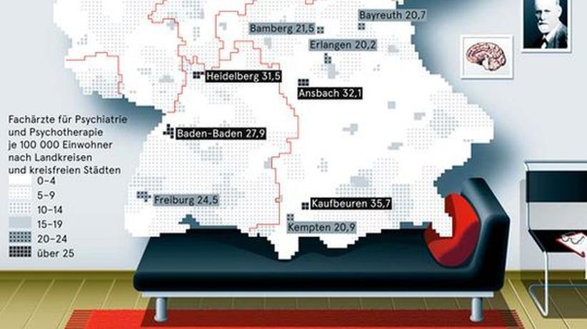 Deutschlandkarte: Psychiater