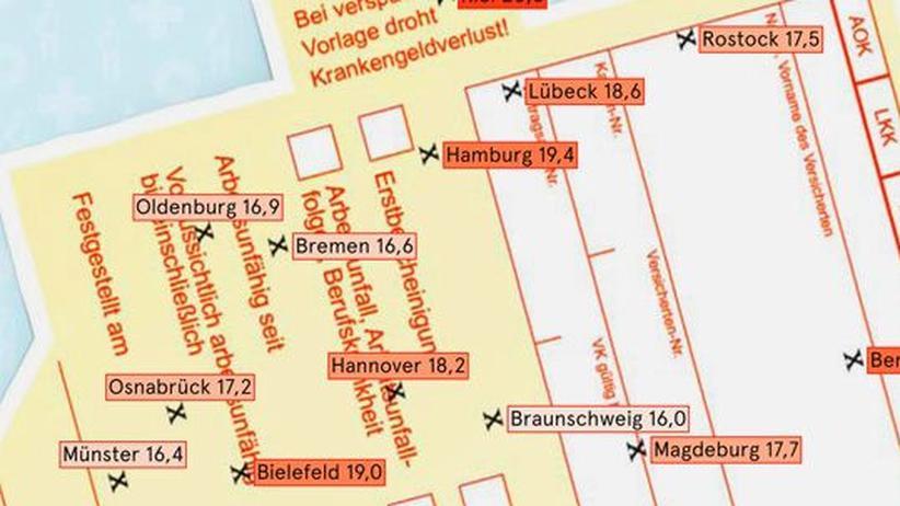 Deutschlandkarte: Krankheitstage