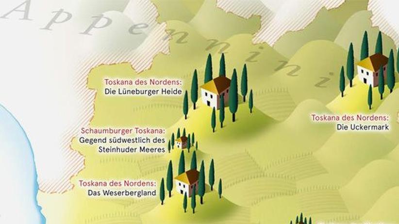 Deutschlandkarte: Deutschland, Land der Toskanen