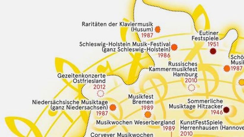 Deutschlandkarte: Klassik-Festivals im Sommer