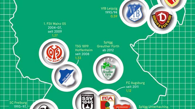 Deutschlandkarte: Bundesliga-Neulinge