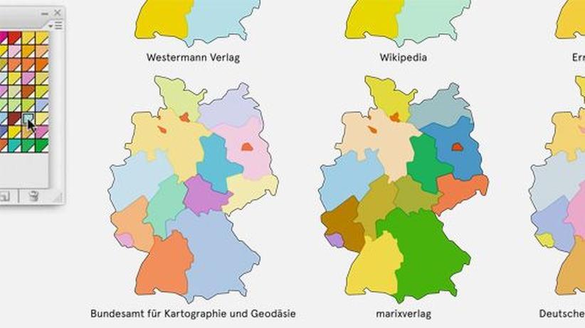 Deutschlandkarte: Länderfarben in Landkarten