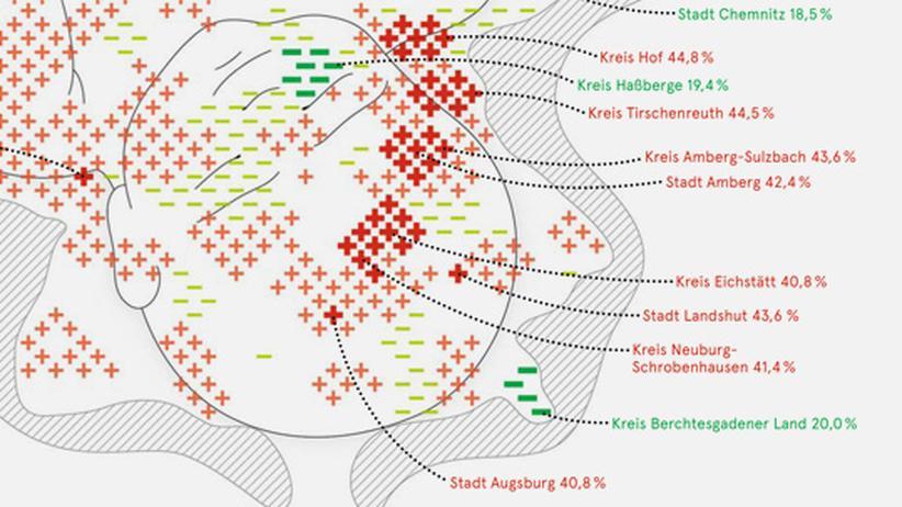 Deutschlandkarte: Kaiserschnitte
