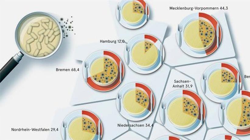 Deutschlandkarte: Lebensmittelkontrollen