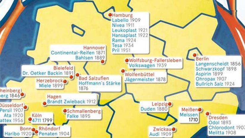 Deutschlandkarte: Traditionsmarken