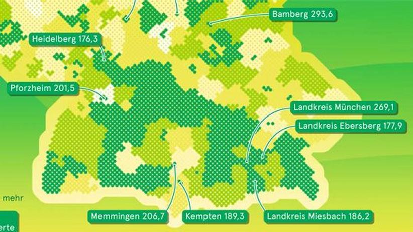 Deutschlandkarte: Volkshochschulkurse