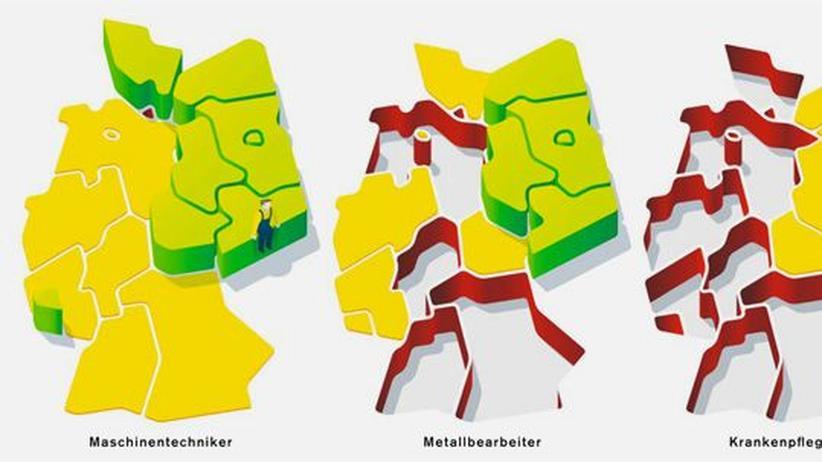 Deutschlandkarte: Jobs, die keiner haben will