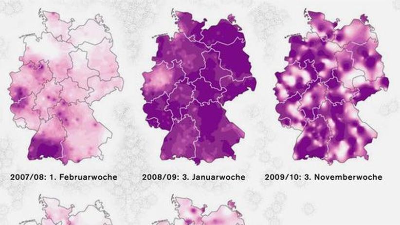 Deutschlandkarte: Grippewellen